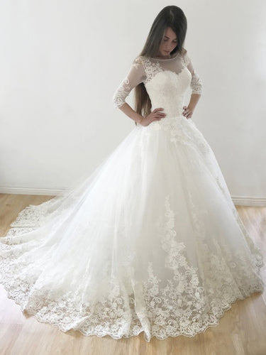 Ball Gown Wedding Dresses Scoop Sweep Train Lace Tulle Chic Bridal Gown JKS269