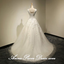Beautiful Wedding Dresses Scoop Sweep Train Appliques Lace-up Long Bridal Gown JKS275