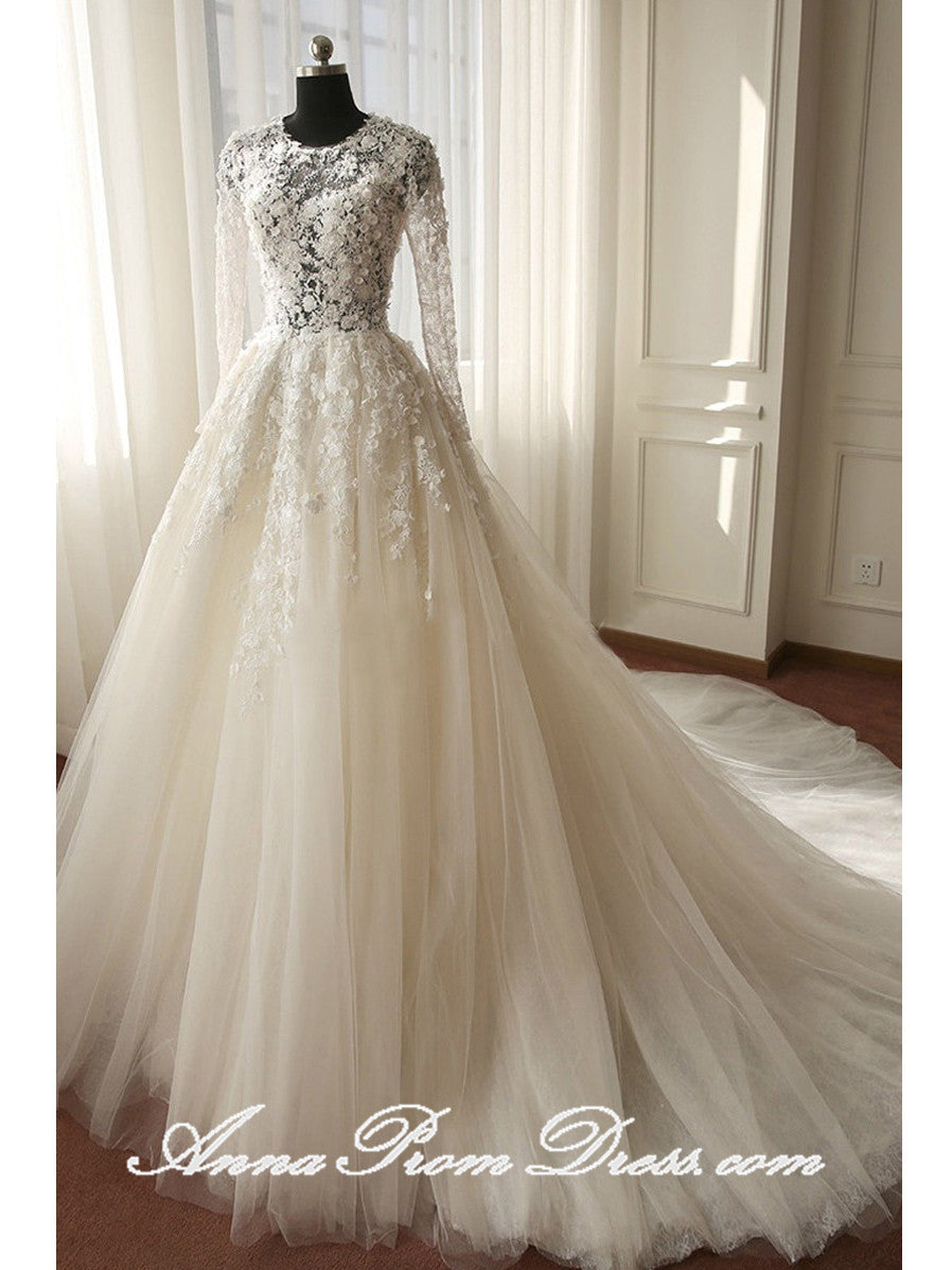 Lace Wedding Dresses Scoop A-line Brush Train Long Sleeve Luxury Bridal Gown JKS276