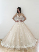 Ball Gown Wedding Dresses Scoop Sweep Train Appliques Tulle Sexy Bridal Gown JKS277