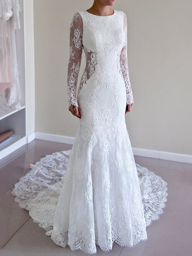 Sexy Wedding Dresses Scoop Backless Sweep Train Ivory Lace Mermaid Bridal Gown JKS279