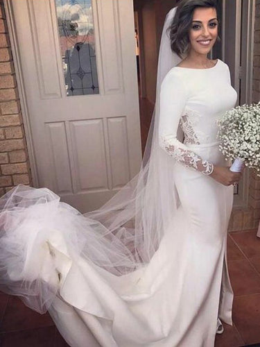 Long Sleeve Wedding Dresses Mermaid Brush Train Backless Sexy Slit Bridal Gown JKS280