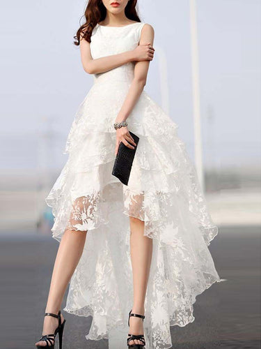 High Low Wedding Dresses A-line Asymmetrical Ivory Sexy Lace Bridal Gown JKS282