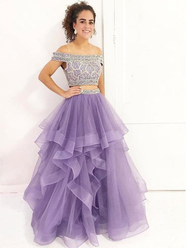 Two Piece Prom Dresses A-line Off-the-Shoulder Floor-length Long Sparkly Chic Prom Dress JKS285