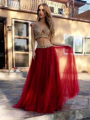 Two Piece Prom Dresses A-line V-neck Floor-length Appliques Burgundy Long Prom Dress JKS290