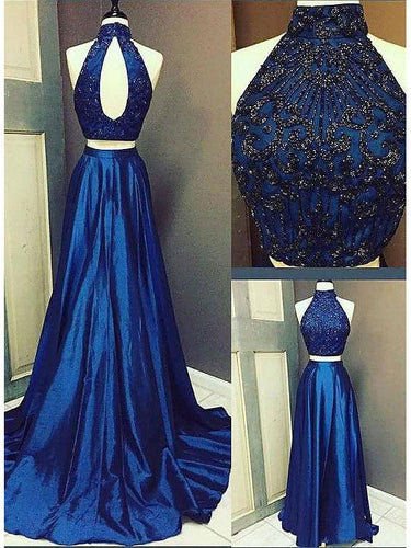 Two Piece Prom Dresses High Neck Aline Short Train Beading Satin Prom Dress JKS298