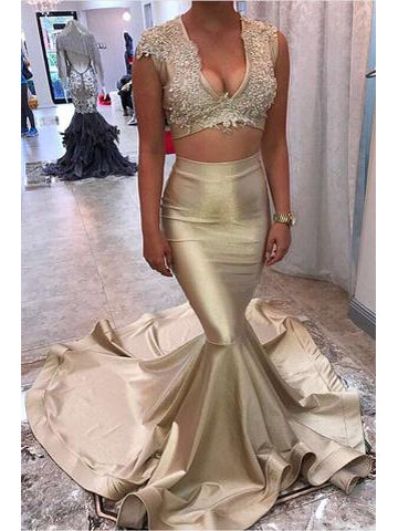 Two Piece Prom Dresses V-neck Sweep Train Long Mermaid Prom Dress Sexy Evening Dress JKS301