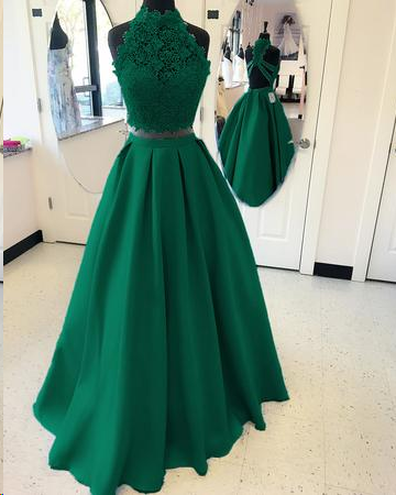 507a9876b35c Two Piece Prom Dresses High Neck A line Floor-length Lace Long Satin Prom  Dress ...