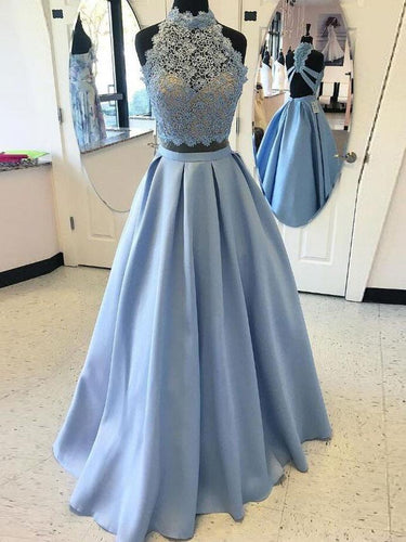 Two Piece Prom Dresses High Neck A line Floor-length Lace Long Satin Prom Dress JKS302|Annapromdress
