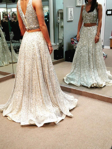Two Piece Prom Dresses V-neck Floor-length Long Prom Dress Sexy Evening Dress JKS303