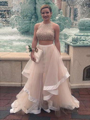 Two Piece Prom Dresses Scoop A Line Tulle Rhinestone Long Sexy Prom Dress JKS309