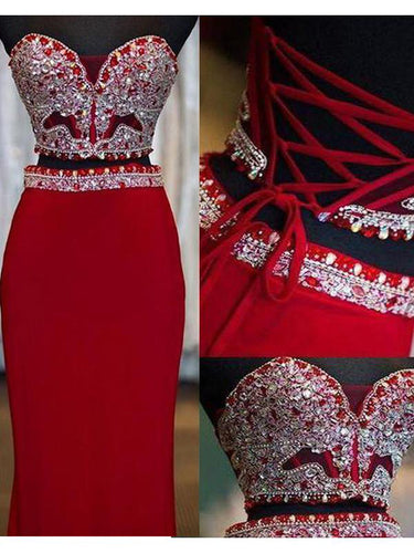 Two Piece Prom Dresses Sweetheart Sheath Column Floor-length Long Red Prom Dress JKS310