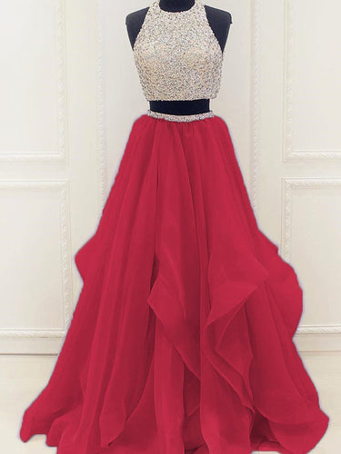 Two Piece Prom Dresses A-line Scoop Floor-length Organza Long Prom Dress JKS312