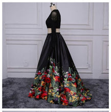 Two Piece Prom Dresses Short Train Long Black Floral Print Prom Dress Sexy Evening Dress JKS315