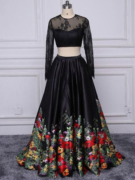 Two Piece Prom Dresses Short Train Long Black Floral Print Prom
