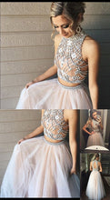 Two Piece Prom Dress A-line High Neck Prom Dress/Evening Dress with Open Back JKS320