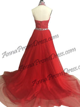 Two Piece Prom Dress A-line High Neck Floor Length Long Prom Dress Sexy Evening Dress JKS321|Annapromdress
