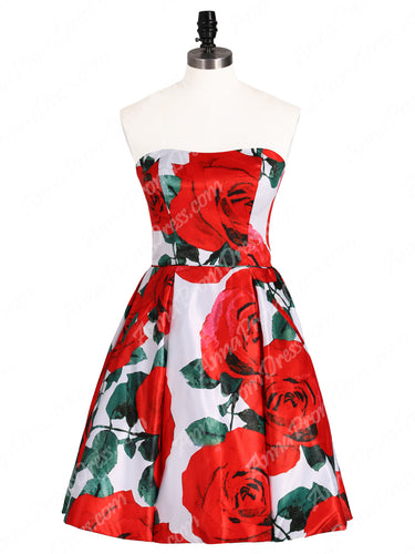 Cute Rose Floral Print Homecoming Dresses Strapless Short Prom Dress Party Dress JKS325|Annapromdress