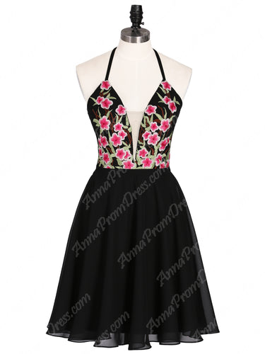 Little Black Dress Open Back Homecoming Dresses  Embroidery A-line Short Prom Dress Party Dress JKS326|Annapromdress