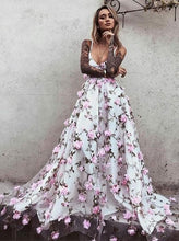Floral Lace Prom Dresses with Straps V-neck Aline Long Open Back Beautiful Prom Dress JKS541|Annapromdress
