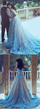2017 Wedding Dresses Straps Blue Hand-Made Flower Tulle JKW002