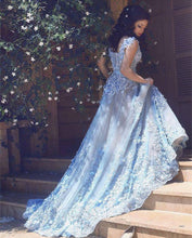Wedding Dresses Straps Blue Hand-Made Flower Tulle JKW002