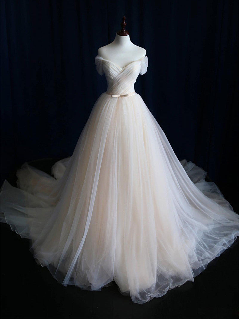Simple Wedding Dresses Chic Ball Gown Sweep/Brush Train Ruffles JKW005|Annapromdress