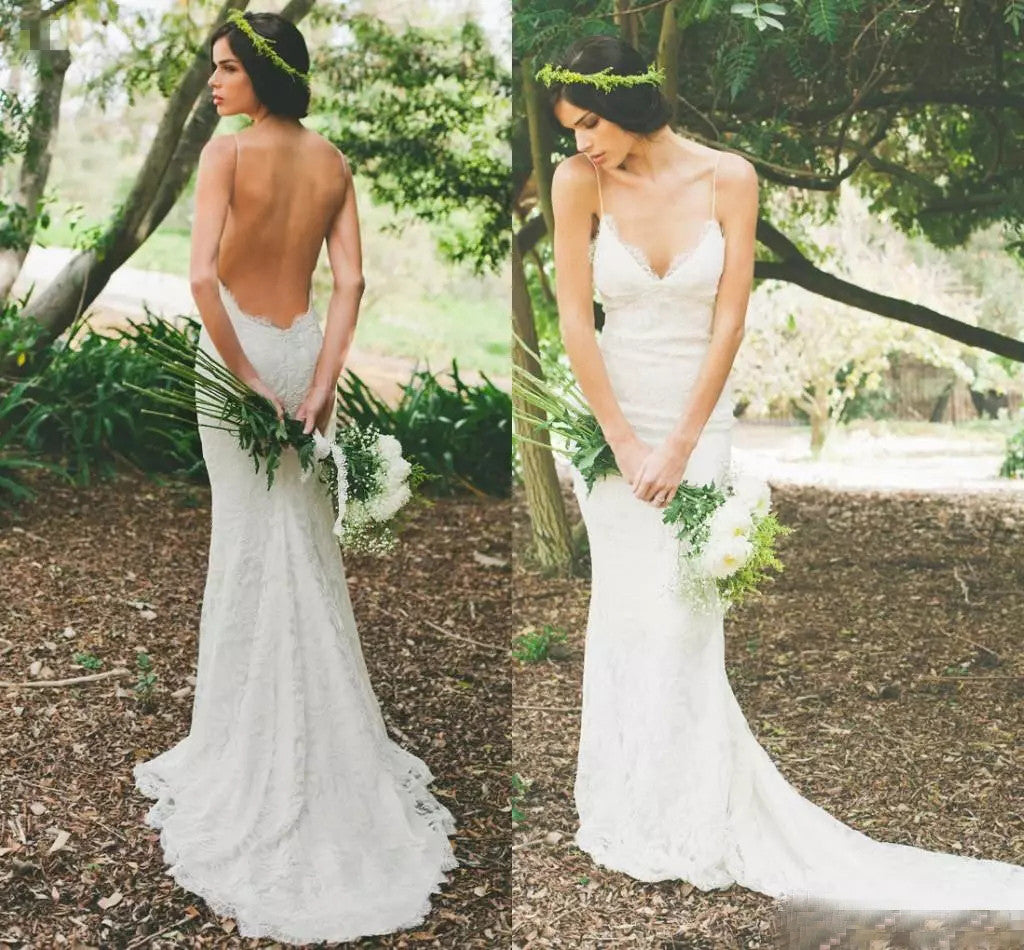 2017 wedding dresses spaghetti straps ivory lace backless for Wedding dresses for small breasts