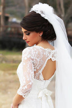 2017 Wedding Dresses 3/4-Length Sleeve Ivory Bowknot Tulle with Lace JKW015