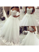 2017 Wedding Dresses Chic Ball Gown Sweep/Brush Train Appliques JKW016