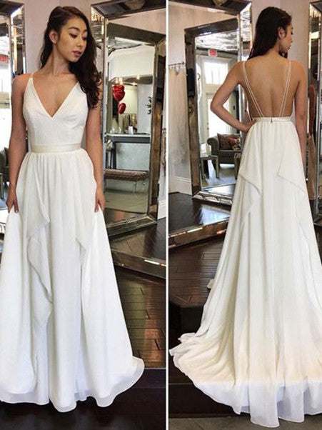 2017 Wedding Dresses Simple Cheap Sexy Ivory A-line Chiffon JKW018