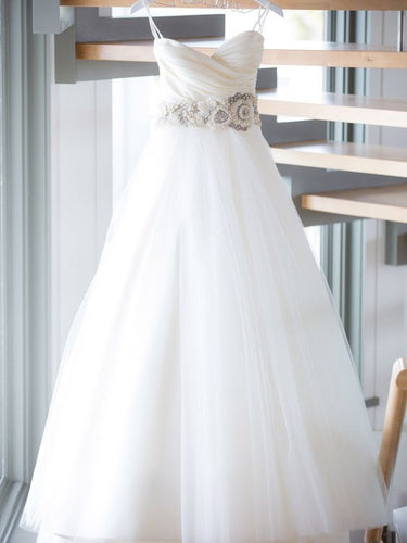 Romantic Wedding Dresses Cheap Sweetheart Floor-length Sequins Tulle JKW021|Annapromdress