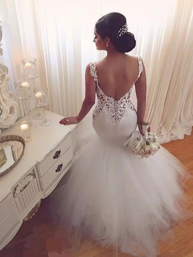 2017 Wedding Dresses Beautiful Long Trumpet/Mermaid Straps Tulle JKW027