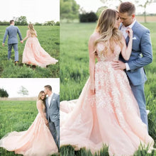 2017 Wedding Dresses V-neck Pearl Pink Sweep/Brush Train Chiffon JKW028