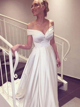 2017 Wedding Dresses Cheap Sexy Off-the-shoulder Elastic Woven Satin JKW032