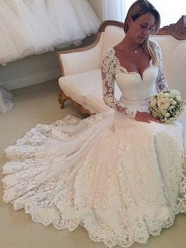 White Wedding Dresses V-neck Long Sleeve Tulle Bridal Gown JKW035