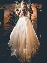 A-line Wedding Dresses Scoop Sweep/Brush Train Bridal Gown JKW036