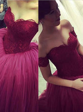 Ball Gown Wedding Dresses Sexy Off-the-shoulder Burgundy Bridal Gown JKW037