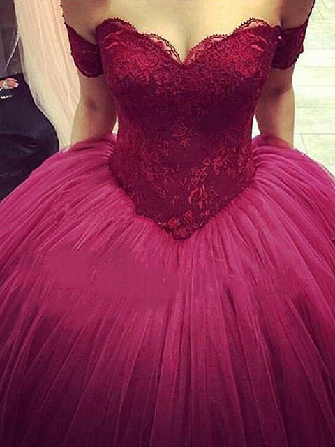 Ball Gown Wedding Dresses Sexy Off The Shoulder Burgundy Bridal Gown