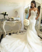 Sexy Wedding Dresses Trumpet/Mermaid Sweep/Brush Train Bridal Gown JKW040