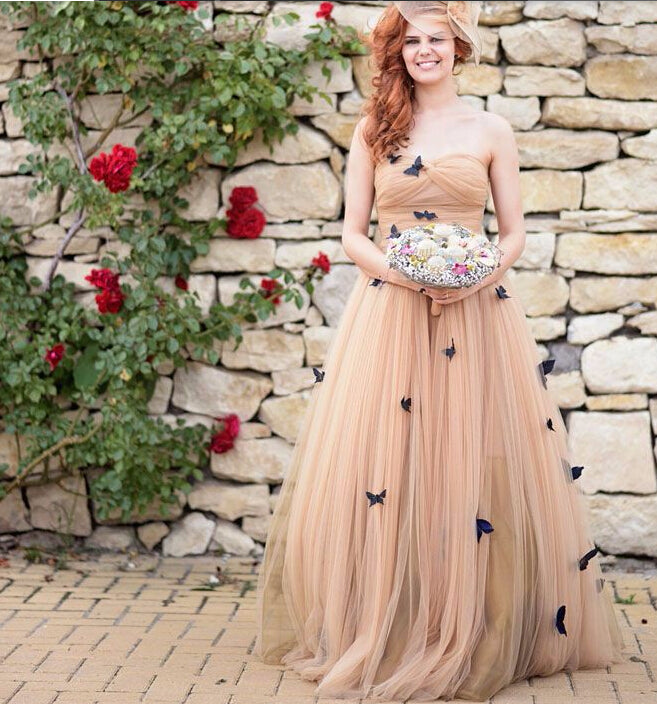 Wedding Gown With Ruffles: Beautiful Butterfly Wedding Dresses Sweetheart Ruffles