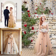 Beautiful Butterfly Wedding Dresses Sweetheart Ruffles Bridal Gown JKW043