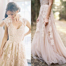 Sexy V-neck Wedding Dresses A-line Appliques Tulle Bridal Gown JKW045