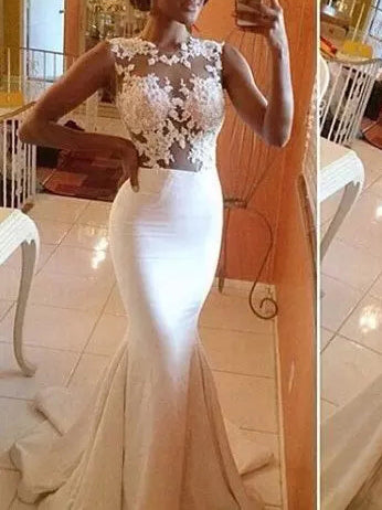 Beautiful Wedding Dresses Trumpet/Mermaid Appliques Bridal Gown JKW049