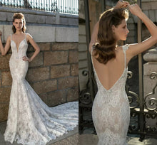 Sexy Wedding Dresses Spaghetti Straps Sheath/Column Lace Bridal Gown JKW052