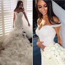 Trumpet/Mermaid Wedding Dresses Sweep/Brush Train Organza Chic Bridal Gown JKW053