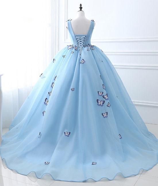 Chic Ball Gown Wedding Dresses Butterfly Blue Sweep/Brush