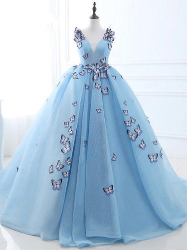 Chic Ball Gown Wedding Dresses Butterfly Blue Sweep/Brush Train Bridal Gown JKW055