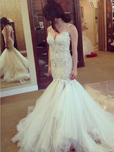 Trumpet/Mermaid Wedding Dresses Spaghetti Straps Tulle Bridal Gown JKW057