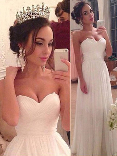Cheap Wedding Dresses Simple A-line Sweetheart Chiffon Bridal Gown JKW059